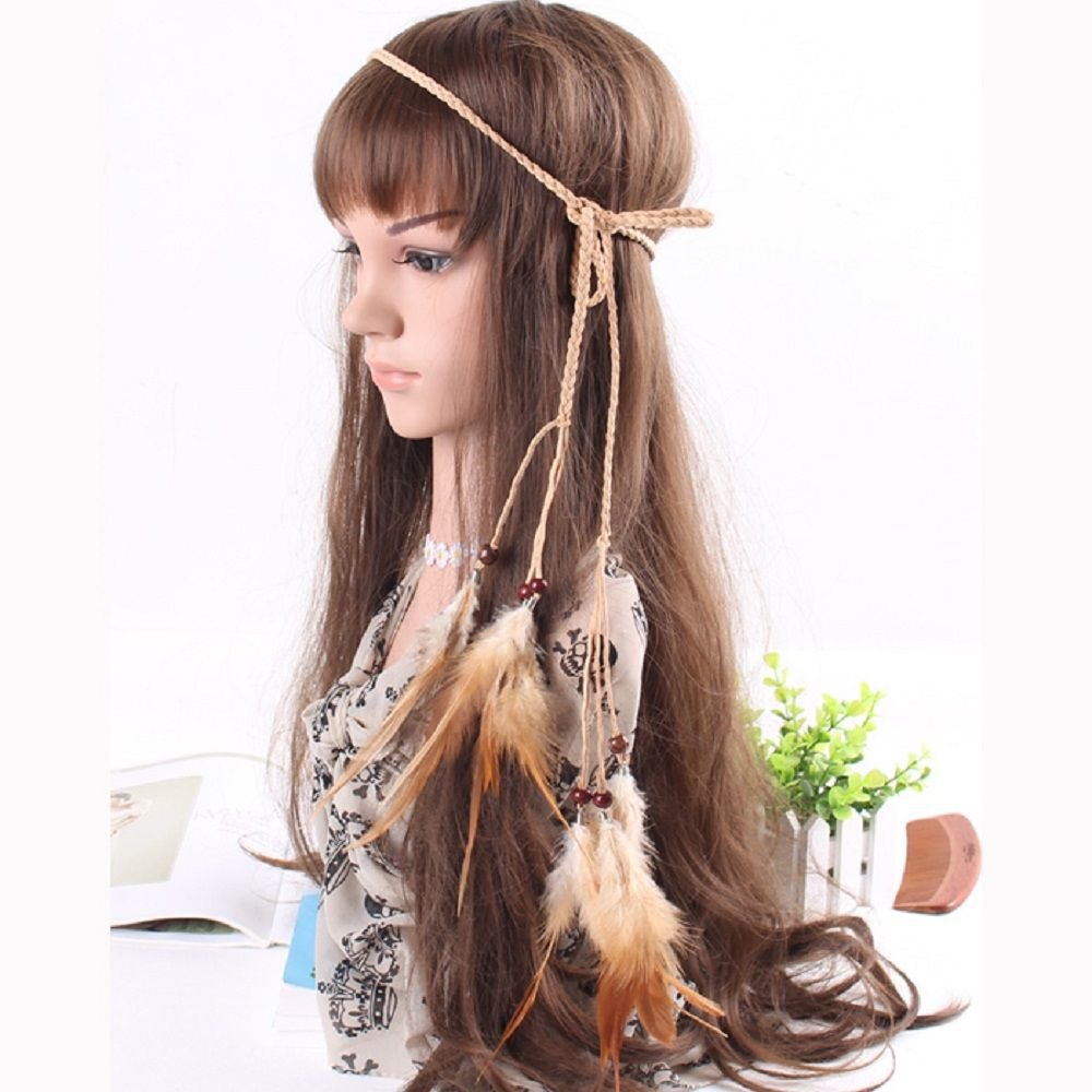 Feather Headdress Fashion Retro Punk Trend Hairy Belt Hair Band