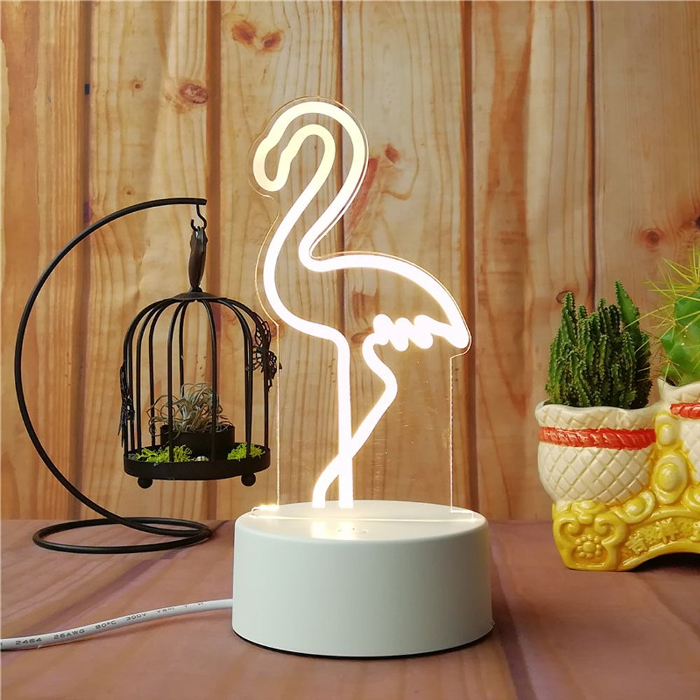 3D Flamingo Small Night Light Plug LED Stereo Bedroom Bedside Lamp