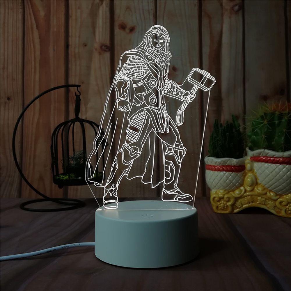 3D Thor - Night Light Plug LED Stereo Bedroom Bedside Lamp