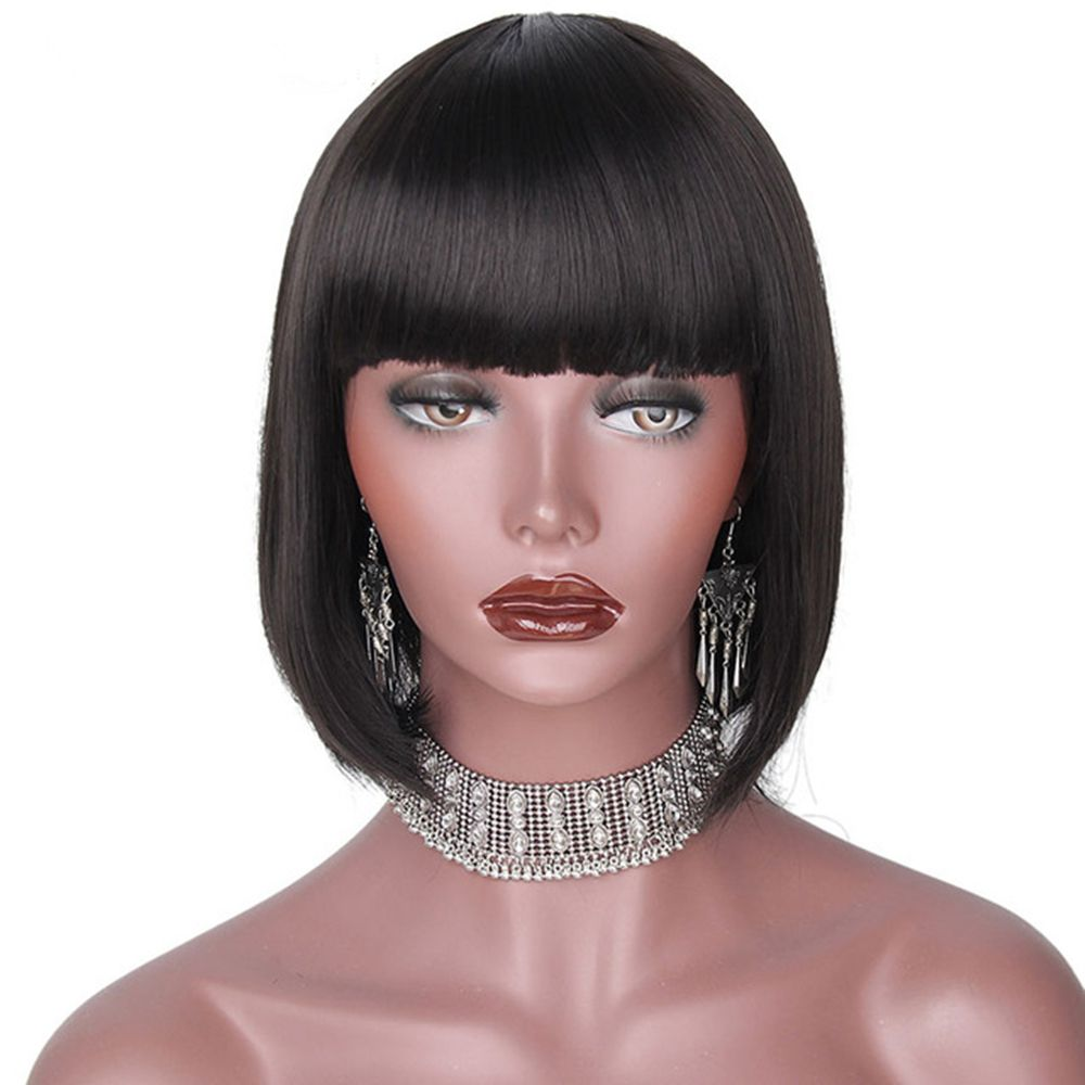 CHICSHE Black Bob Short Synthetic Wigs for Black Women Heat Resistant Hairpieces