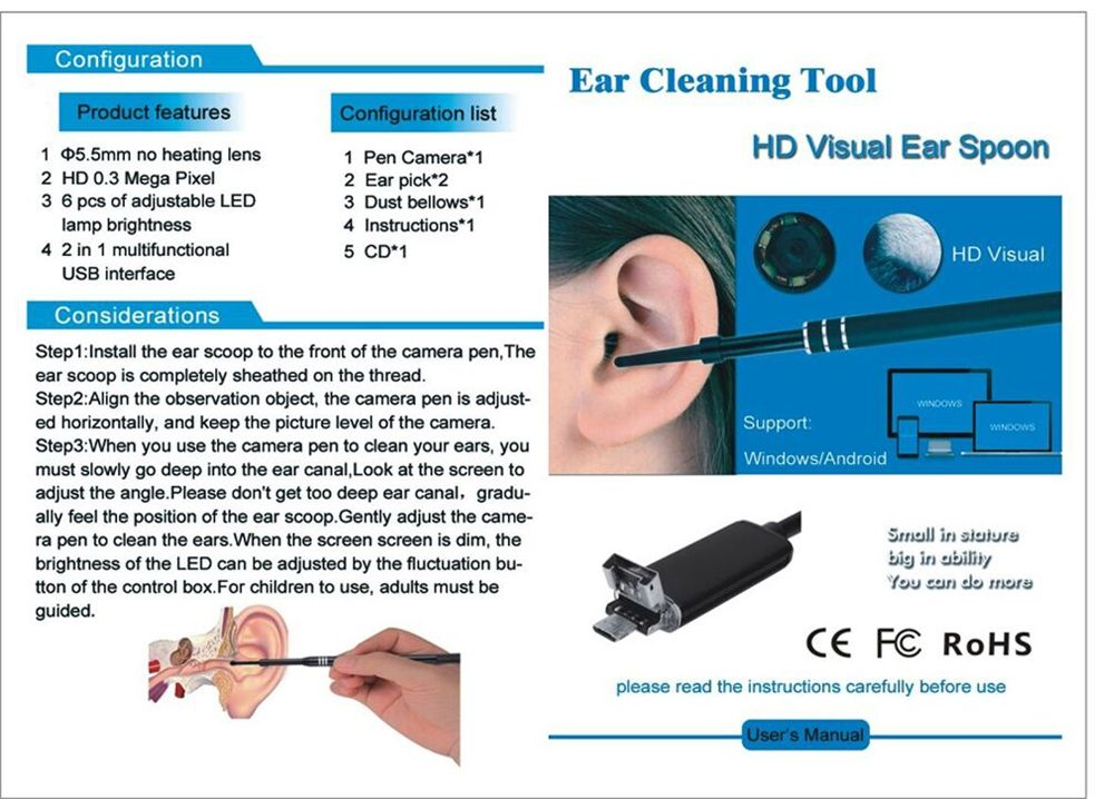 2-IN-1 5.5MM Endoscope Cleaning USB Visual Ear Spoon Earpick Otoscope Borescope Mini Camera Android PC