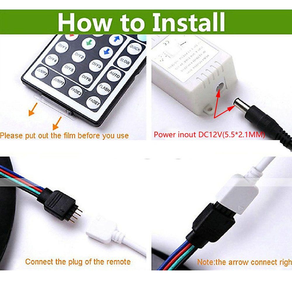 ZDM 4PCS 5M 150x5050RGB LED Strip Light 44Key IR Controller and  with 10PCS Connecting line DC12V 140W