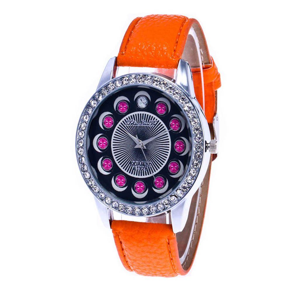 Zhou Lianfa Brand Diamond-encrusted Leather Watch