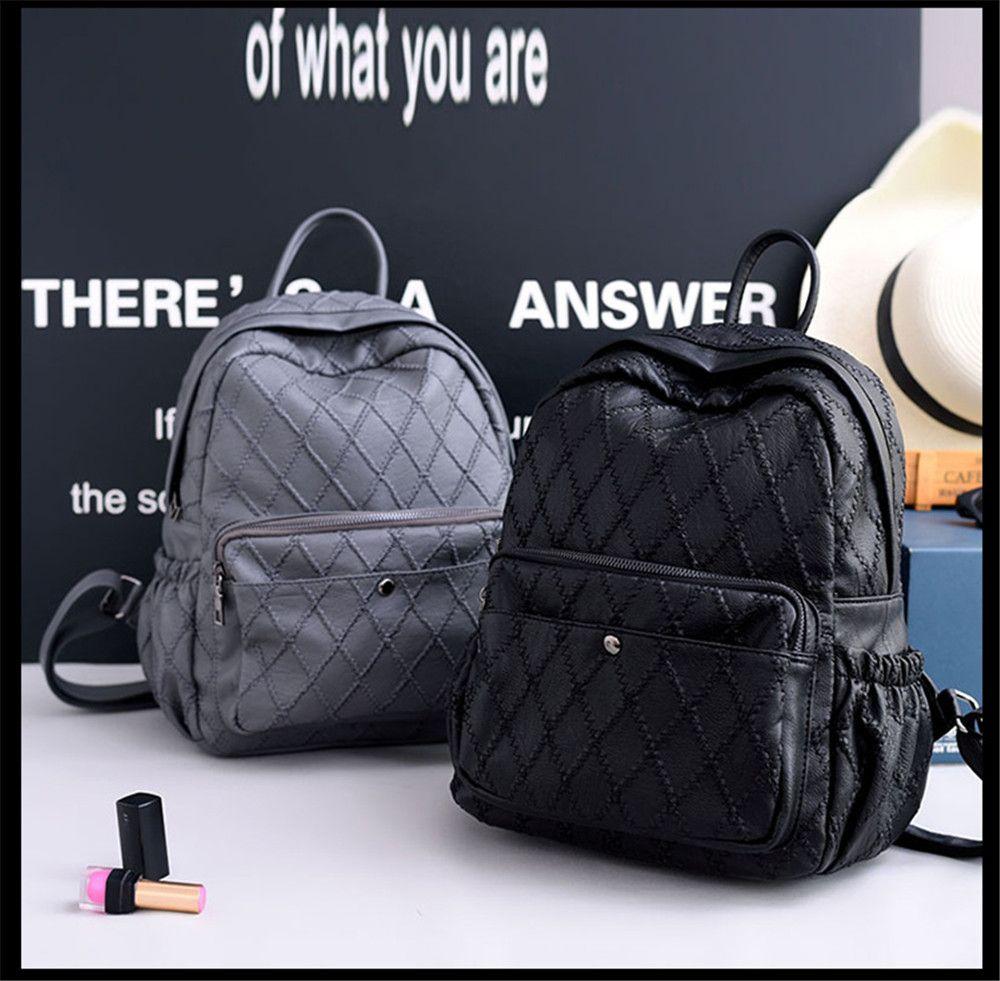 Casual Diamond Lattice Large Capacity Backpack