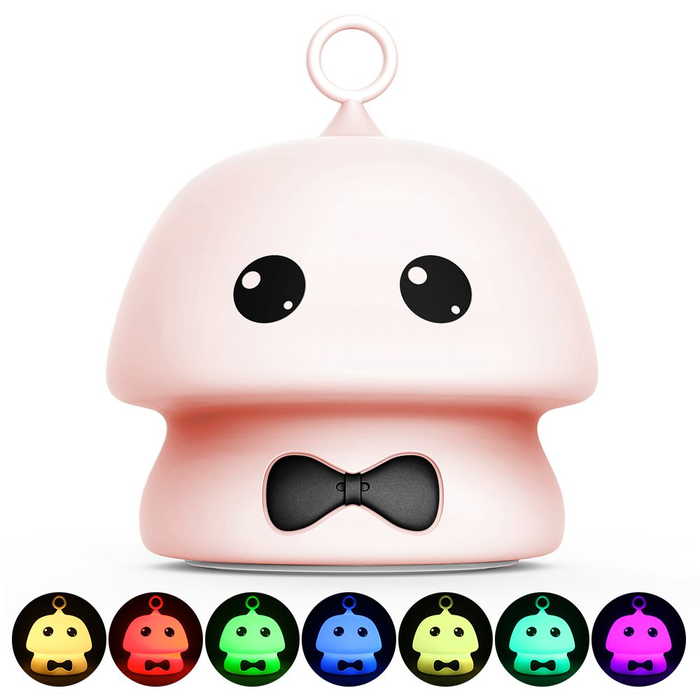 Colorful Mushroom Silica Gel Pink AND Blue Cartoon Night Light LED  On The Bedside Lamp