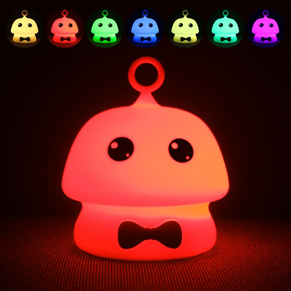 Colorful Mushroom Silica Gel White Cartoon Night Light LED  On The Bedside Lamp