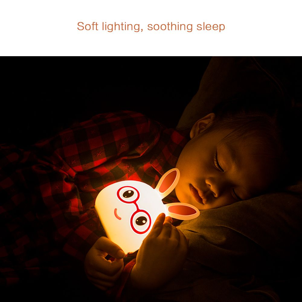 USB Charging Silica Gel Intelligent Sensor Night Light Happy And Lovely Small Rabbit Seven Color Bedside Lamp