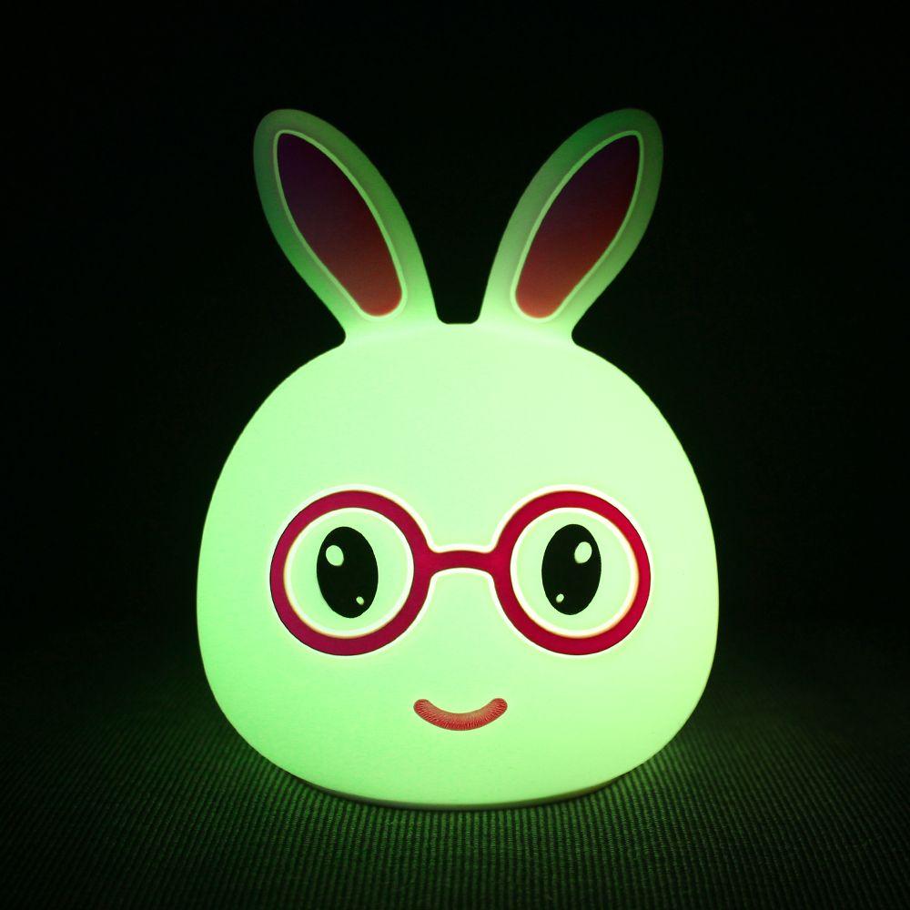 USB Charging Silica Gel Intelligent Sensor Night Light Smile And Lovely Small Rabbit Seven Color Bedside Lamp