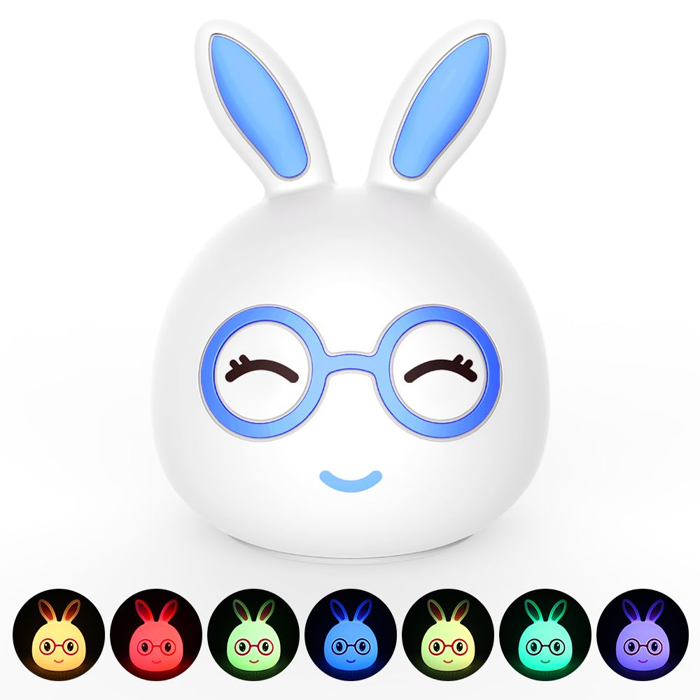 Silica Gel Intelligent Sensor Night Light Happy And Lovely Small Rabbit Seven Color Bedside Lamp