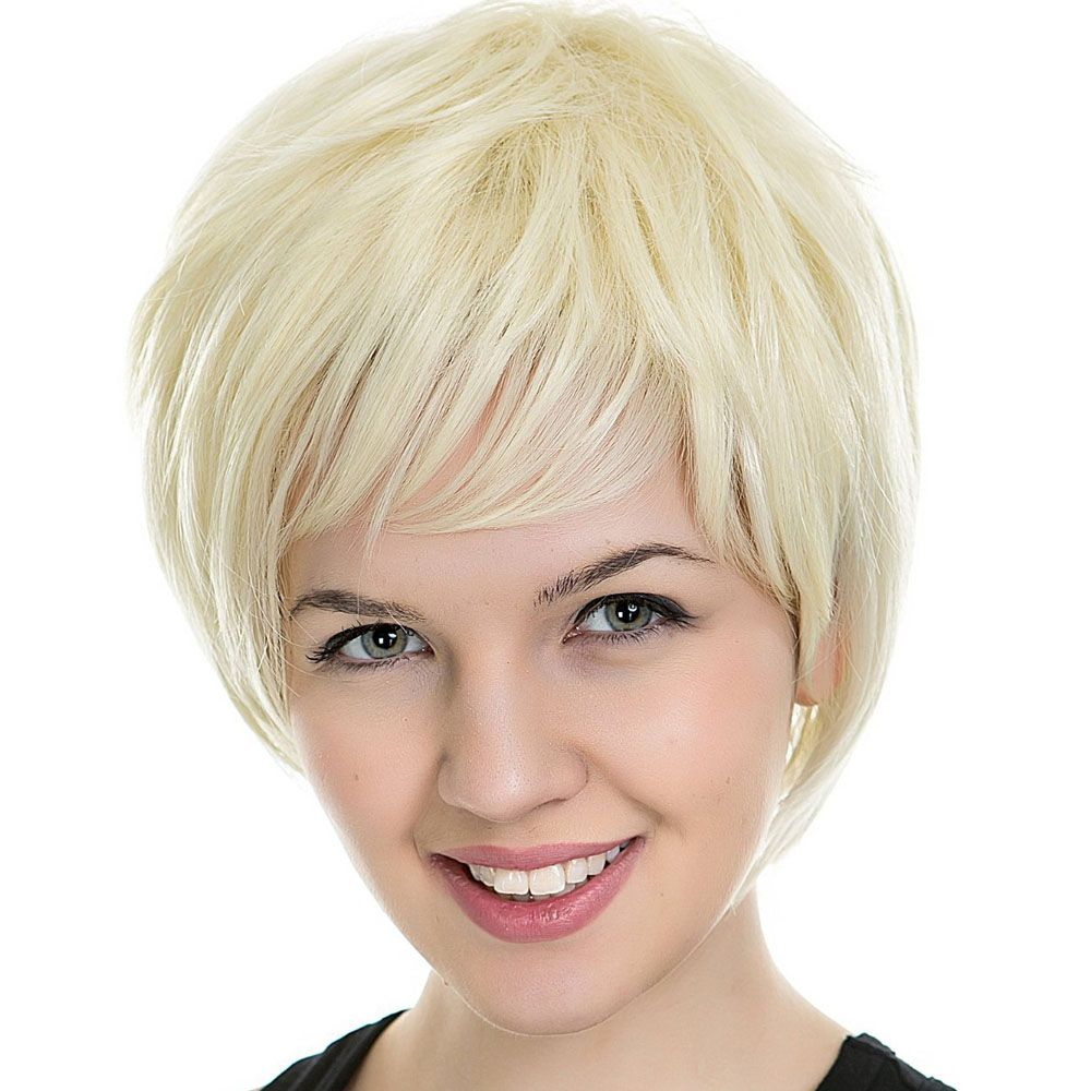 Ladies Pale Gold Flat Bangs Received Face Short Hair Wigs