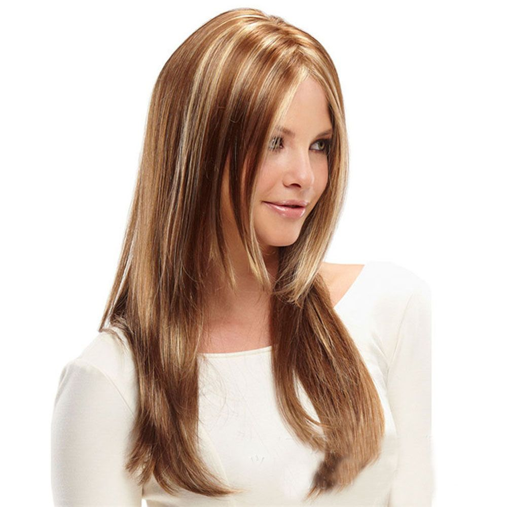 Ladies Mid-Point Gold Gradient Long Wigs