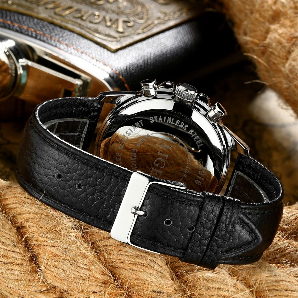 LIGE 0002 4949 Business Fashion Trend Real Small Three Band Multi Functional Calendar Belt Men Waterproof Quartz Watch