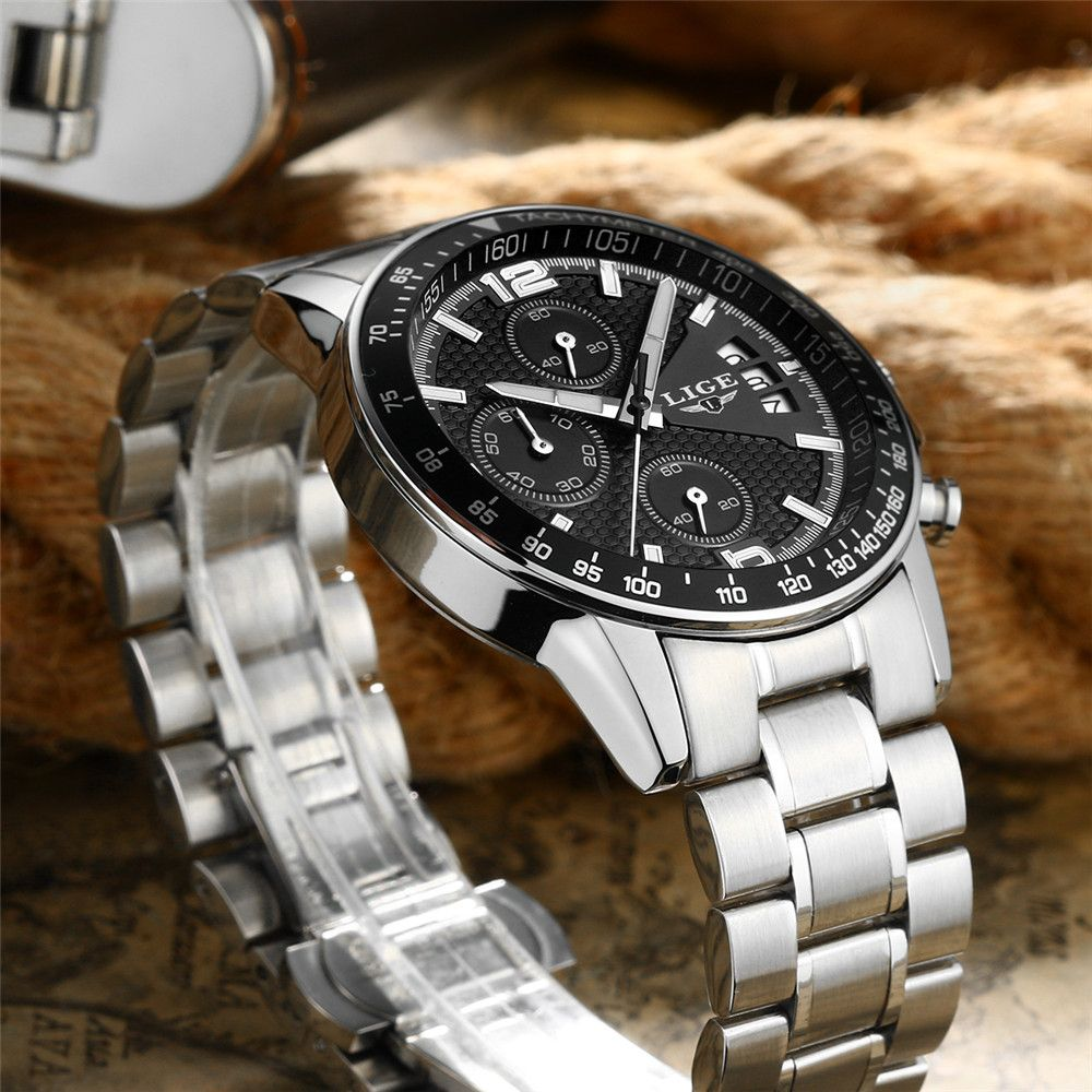LIGE 0002 4949 Business Fashion Trend Real Small Three-Disk Band Multifunctional Calendar Steel Band Men Waterproof Quar