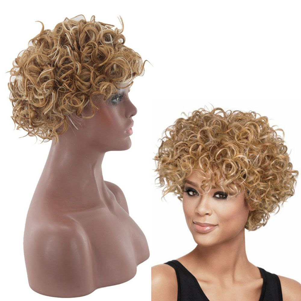 Lady Small Volume Golden Explosion Head Short Hair Wig