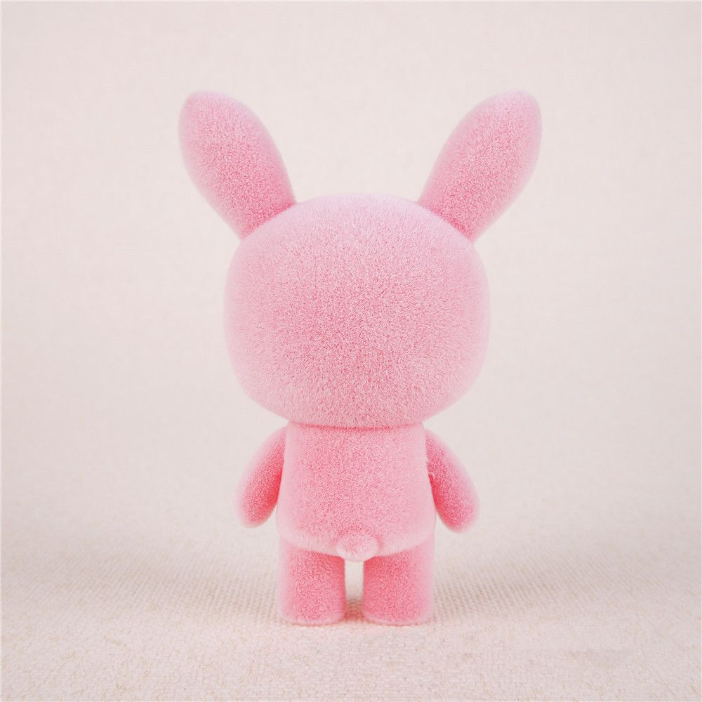 Mini Lovely Flocking Pink Rabbit Doll Furnishing Articles Kids Gift