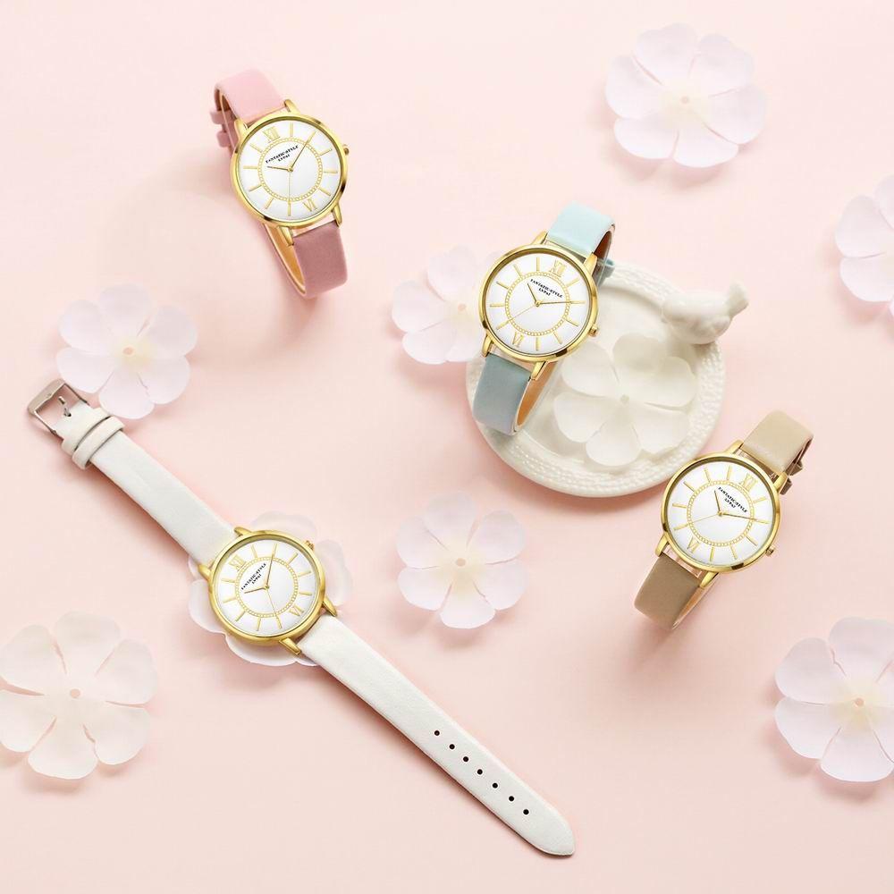 Lvpai P092-G Women Fashion Golden Bezel Leather Strap Wrist Watch