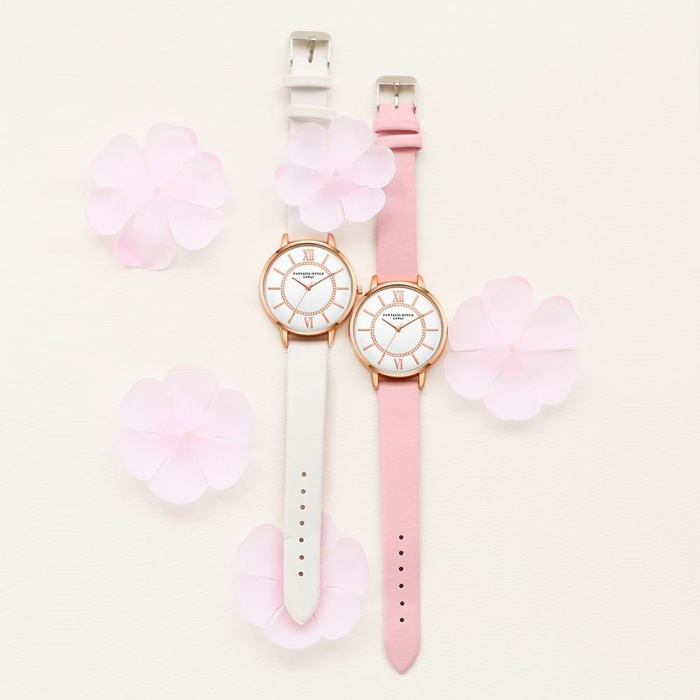 Lvpai P092-R Women Fashion Rose Gold Tone Bezel Leather Band Wrist Watches