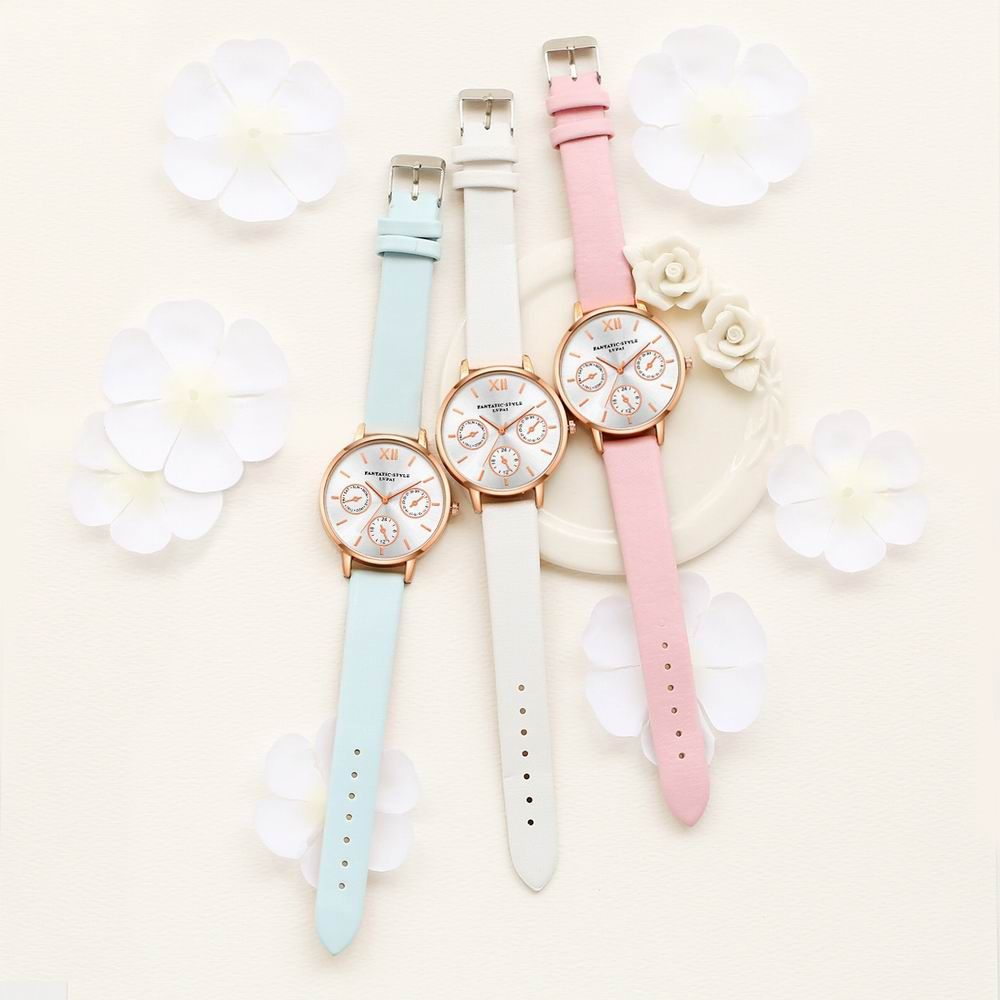 Lvpai P093-R Women Casual Leather Strap Quartz Watches