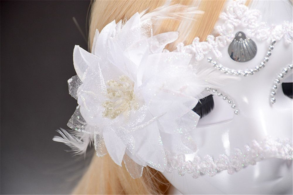 Sexy Venetian Masquerade Masks Halloween Party Princess Lace Feather Ball Pattern Women Half Face Eye Mask Hot Sale