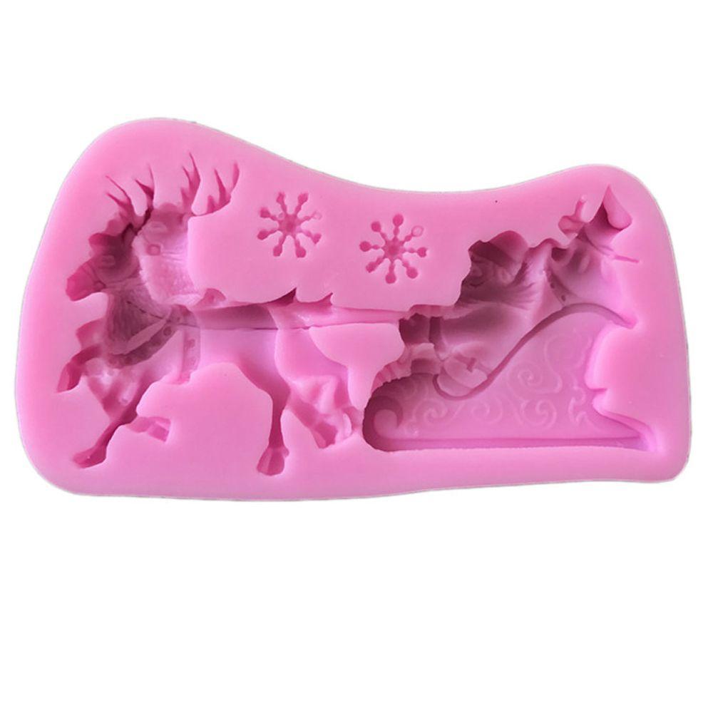 2 Pcs Silicone Mold Christmas Santa Sleigh Deer Elk for Baking Sugar Craft Cake Decorating Bakeware Tool