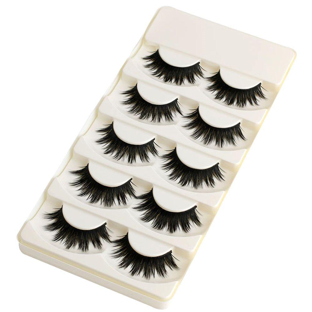 5 Pairs Soft Long Makeup Cross Thick False Eyelashes Natural Handmade Eye Lashes Extension Make Up Beauty