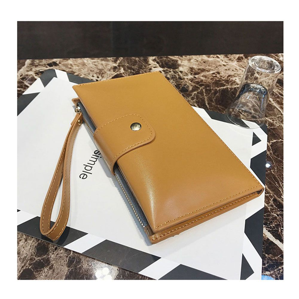New solid color casual lock large capacity multi-walled clutch women's fashion multi-functional wallet