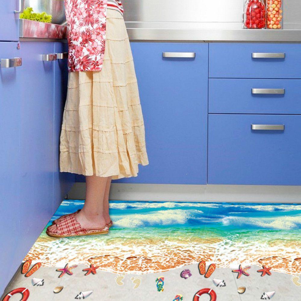 3D Blue Beach Waterproof Seamless Floor Sticker