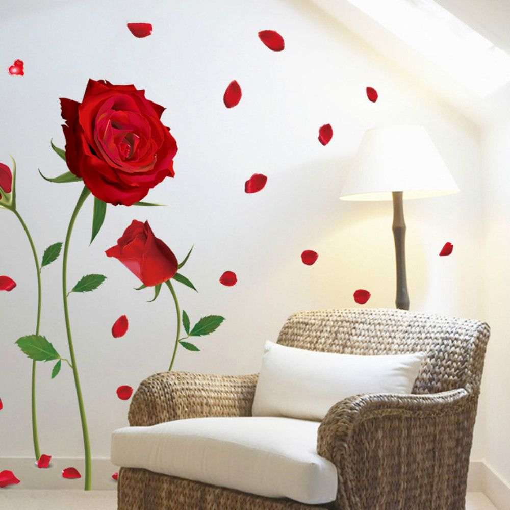 Romantic DIY Red Rose Wall Sticker Mural Decal Home Room Art Decor