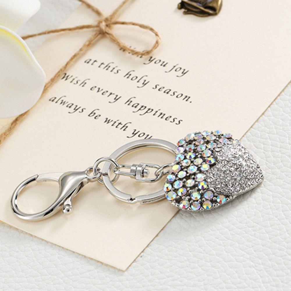 Love Rhinestone Tassel Keychain Key Ring