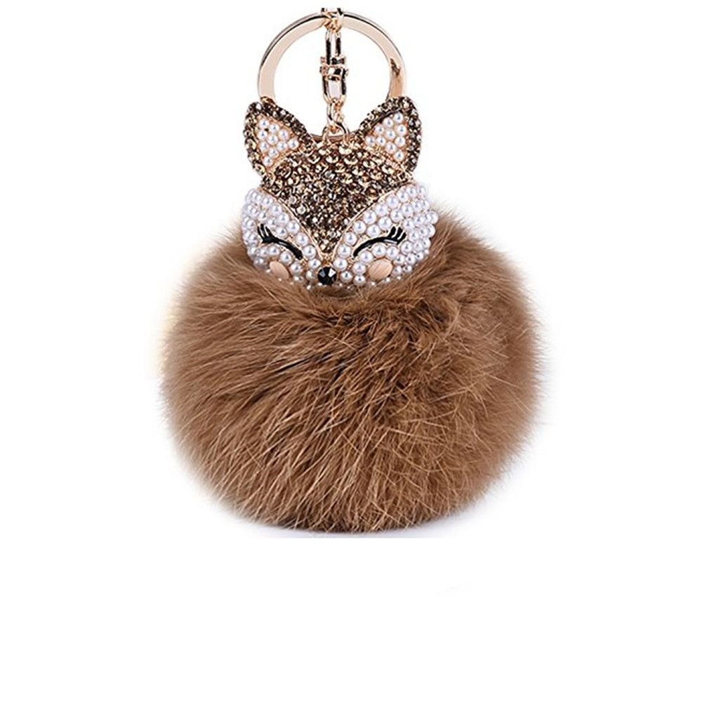 Anple Real Rabbit Fur Ball with Artificial Fox Head Inlay Pearl Rhinestone Key Chain for Womens Bag or Cellphone