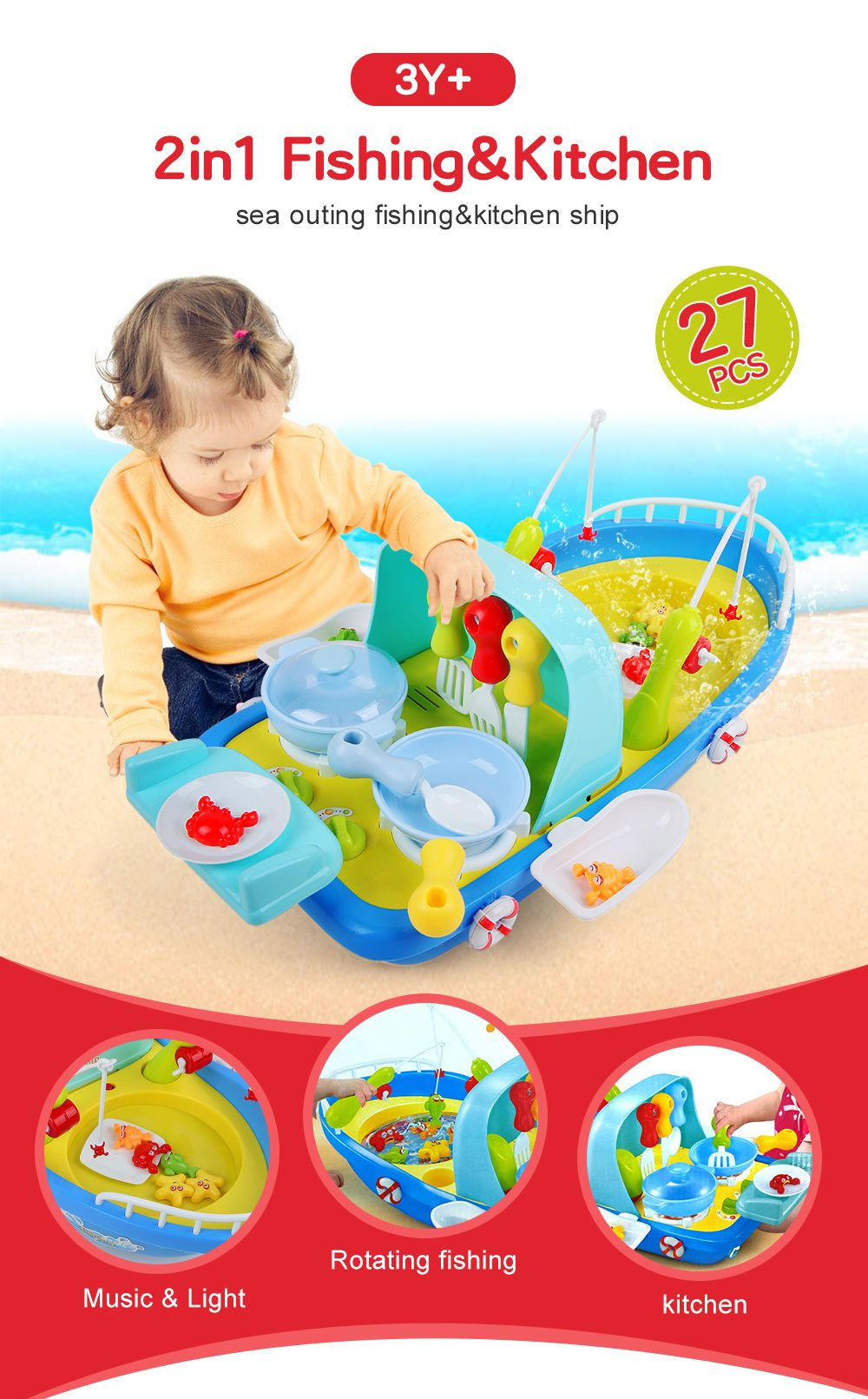 2 In 1 Fishing / Cooking Ship Pretend Play Toy with Light / Music for Kids