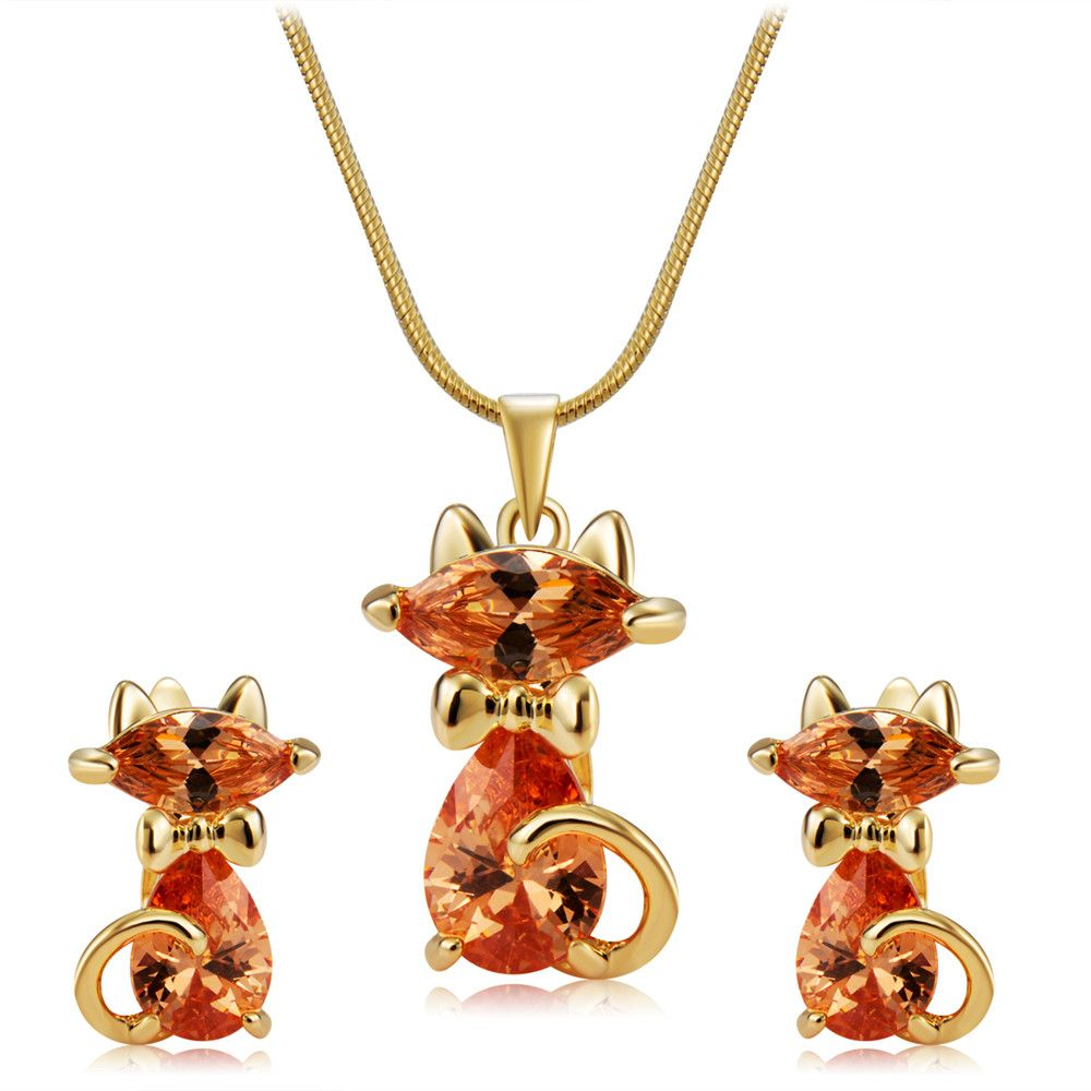 Lovely Cat Crystals Inlaid Pendant Necklace Earring Set