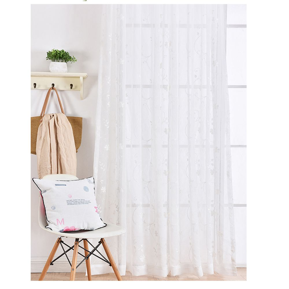 High Grade Embroidered Window Yarn Pastoral White Gauze
