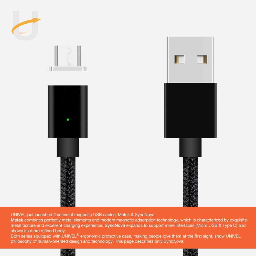 UNIVEL SyncNova Magnetic Micro USB Cable with Charging Indicator