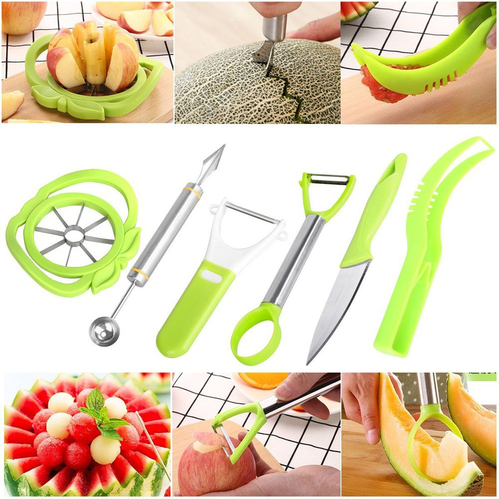 6-in-1 Fruit Carving Tool Set - Watermelon Slicer Melon Baller Scoop Fruit Carver Apple Corer Peeler Knife