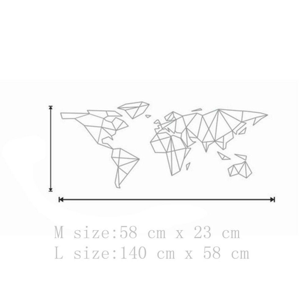 Geometric World Map Vinyl Wall Sticker for Kids Room Murals Decals Home Decoratin
