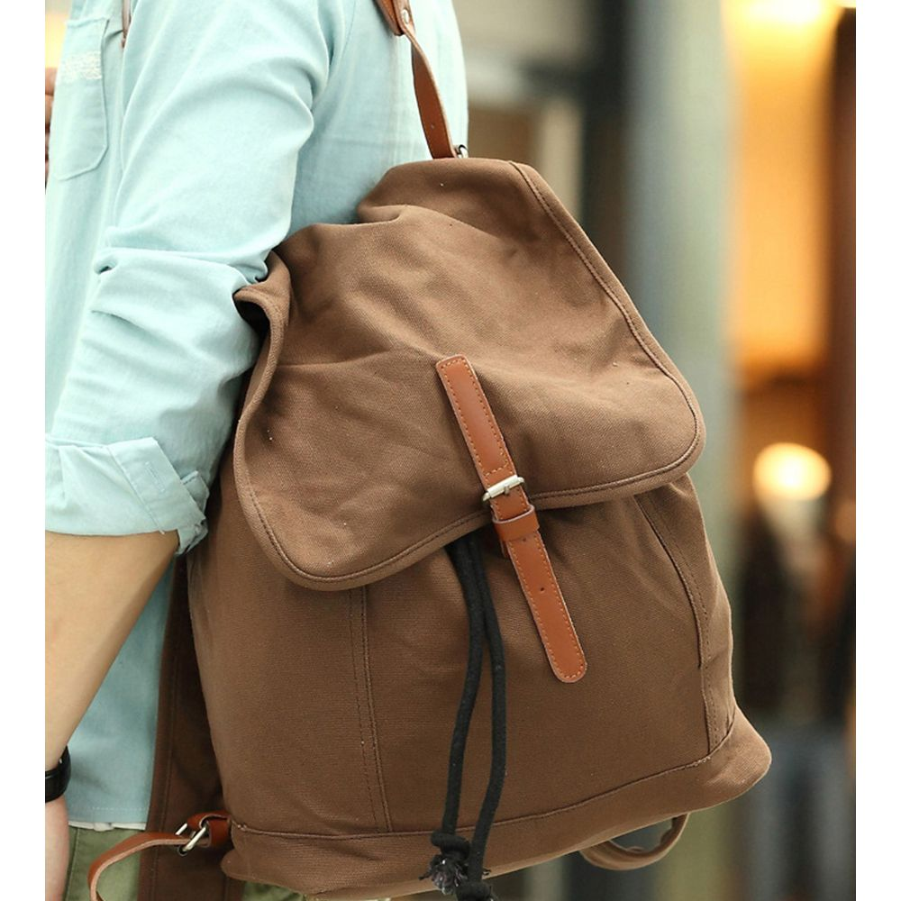 1Pc Canvas Backpack Travel Bags Student Laptop Bag