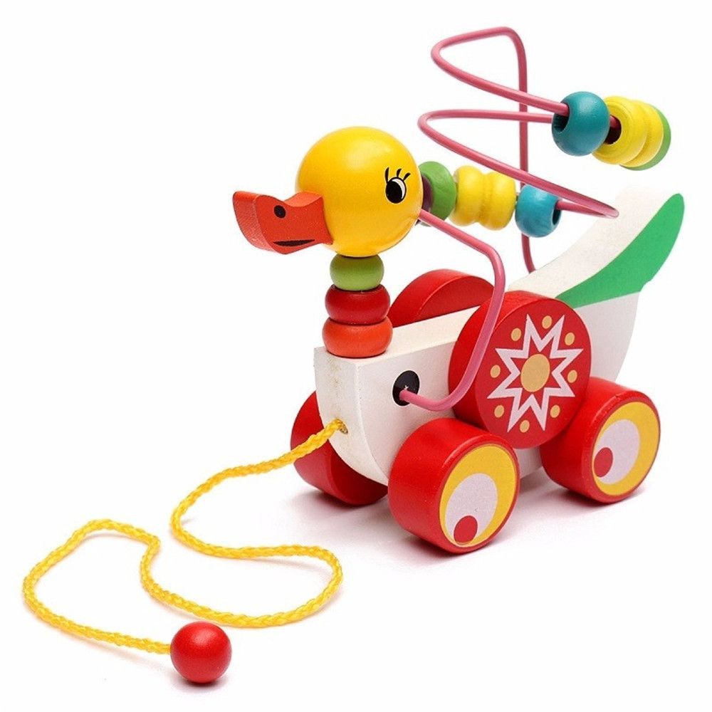 Animal Duckling Trailer Beads Toy