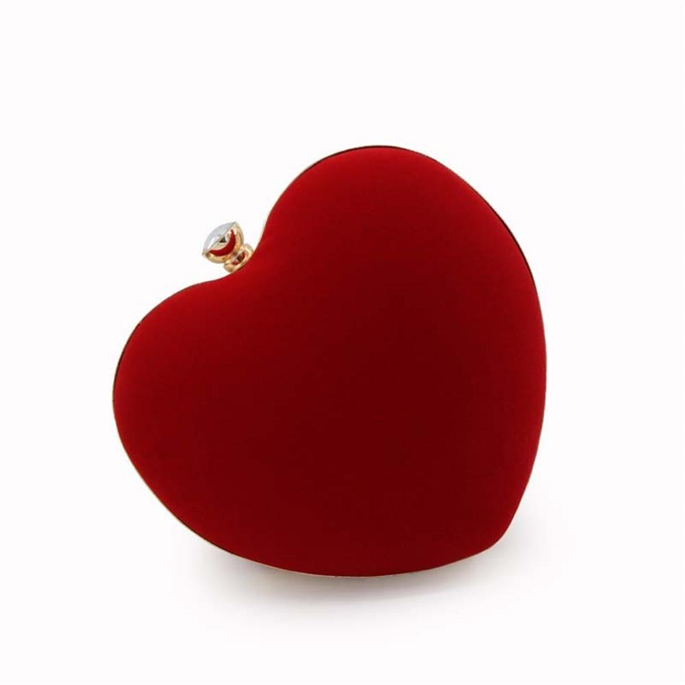 The Explosion Of High-grade Velvert Heart-shaped Evening Clutch Bag