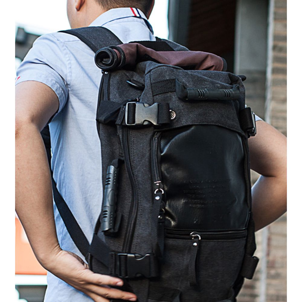 1Pc Canvas Mountaineering Backpack Sports and Casual Bags Travel Bag