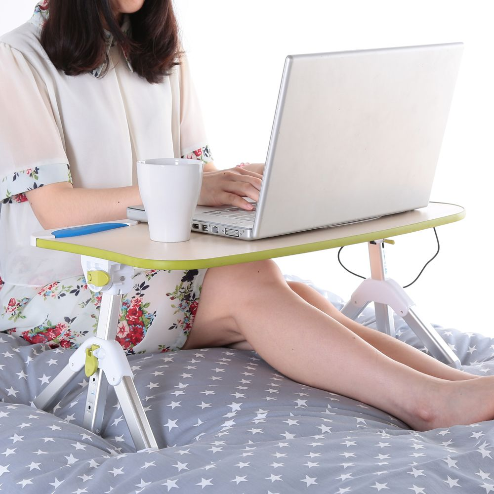 Adjustable Laptop Computer Bed Table Portable Standing Desk Foldable Sofa with USB Fan