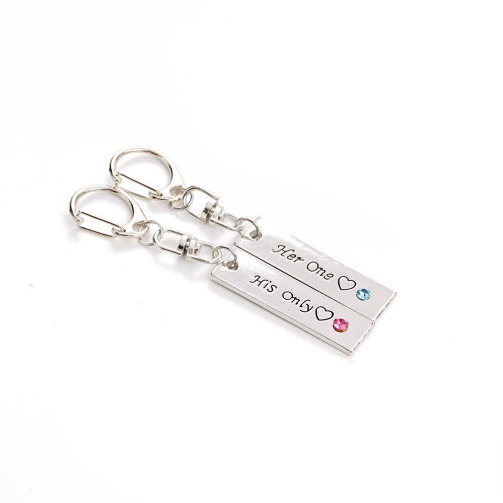 Her One His Only Diamond Couple Key Ring