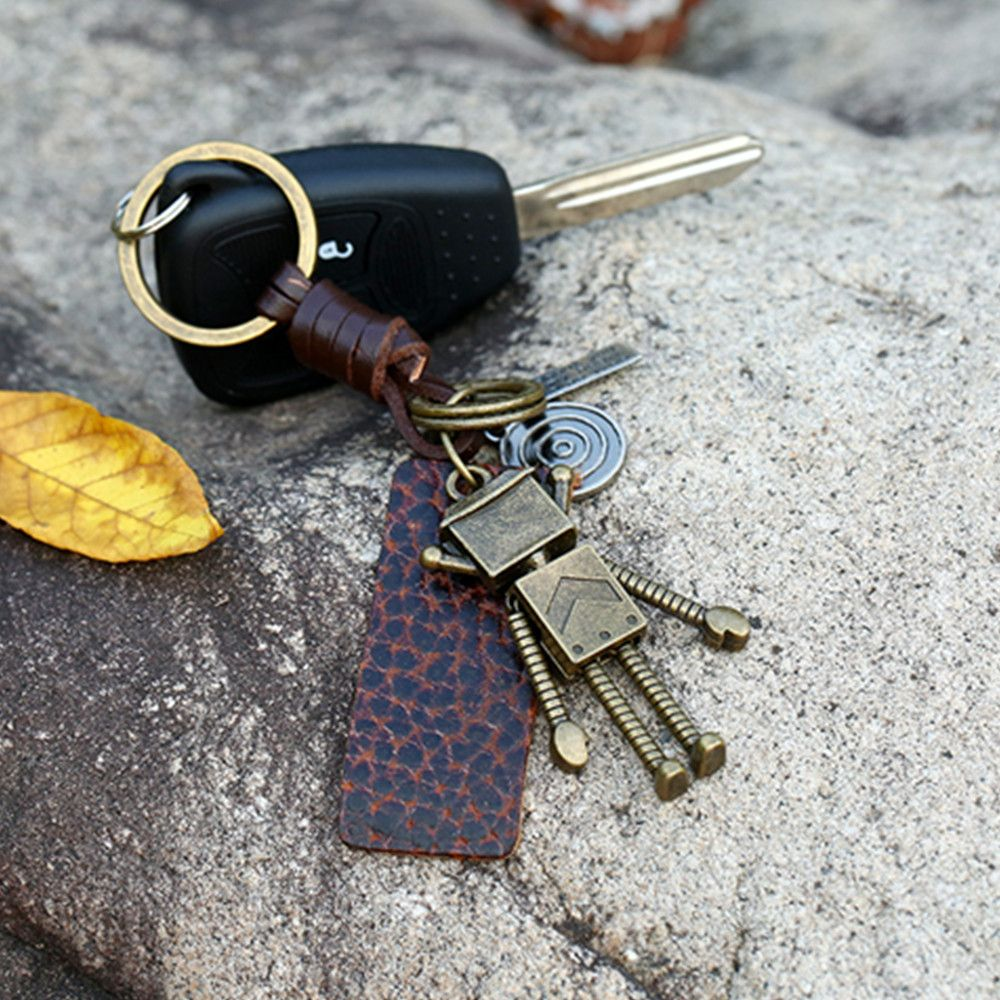 Retro Robot Leather Moven Fabric Keychain Rings Perfect Gifts Souvenirs