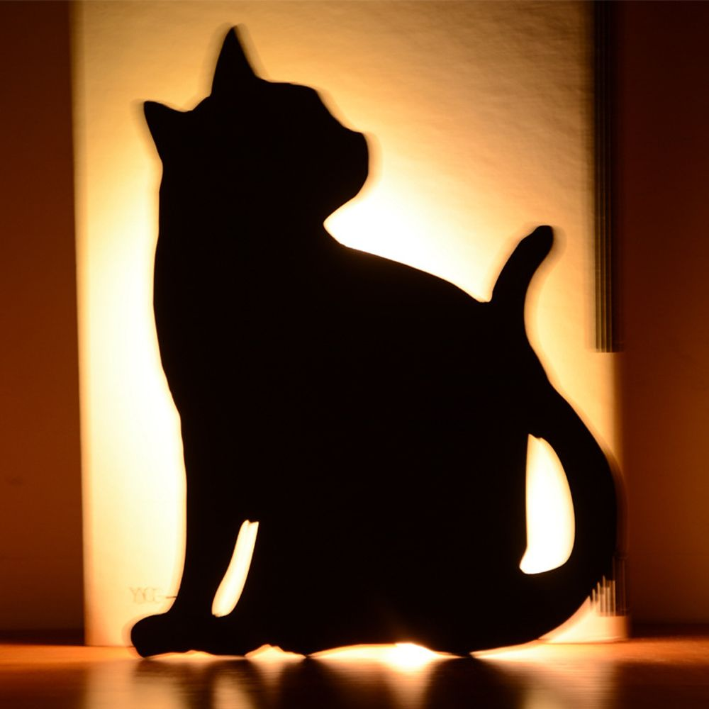 Optically Controlled Sound Control Cat Night Light Shadow LED Projection Lamp