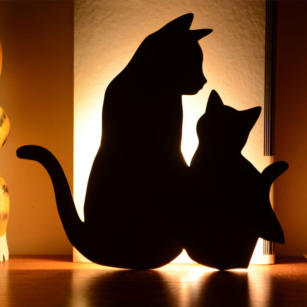 Optically Controlled Sound Control Mother Child Cat Night Light Shadow LED Projection Lamp