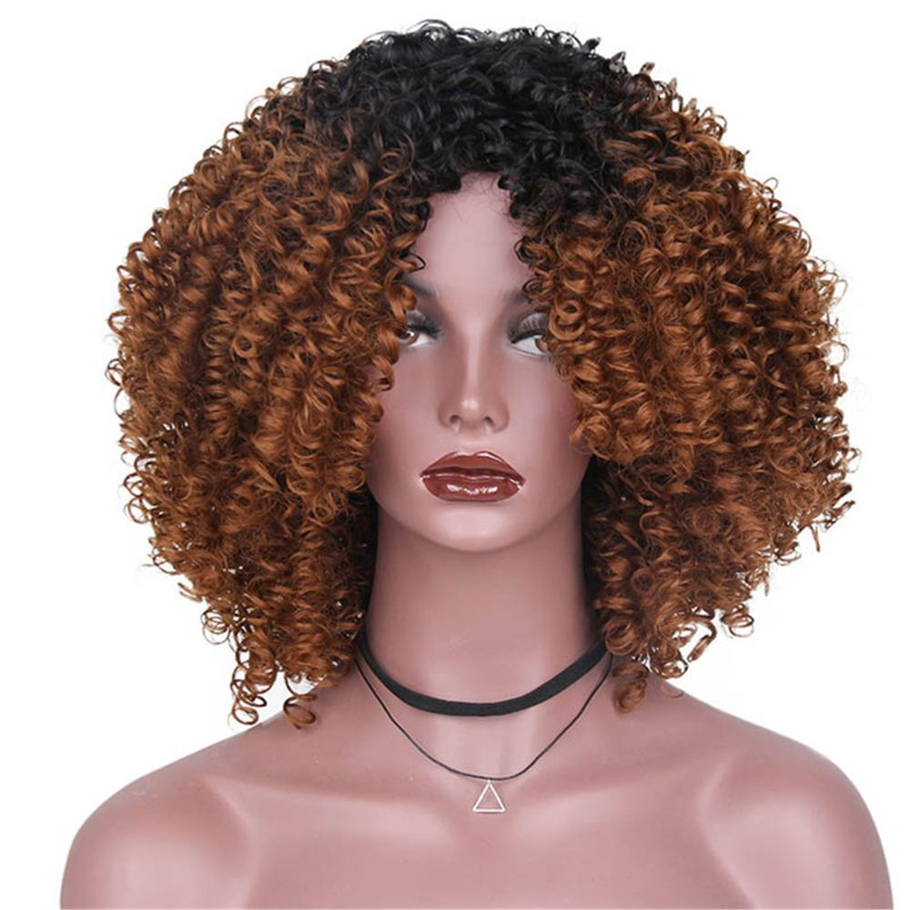 CHICSHE High Temperature Fiber Mixed Brown Blonde Color Synthetic Short Hair Afro Kinky Curly Wigs