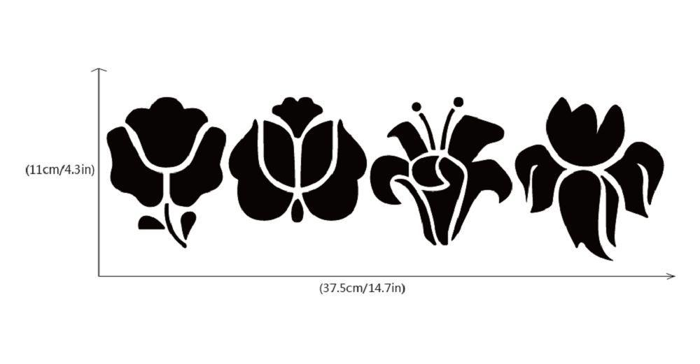DSU  4Pcs Creative Flower Switch Sticker Natural Style Cartoon Flower Silhouette Wall Decor