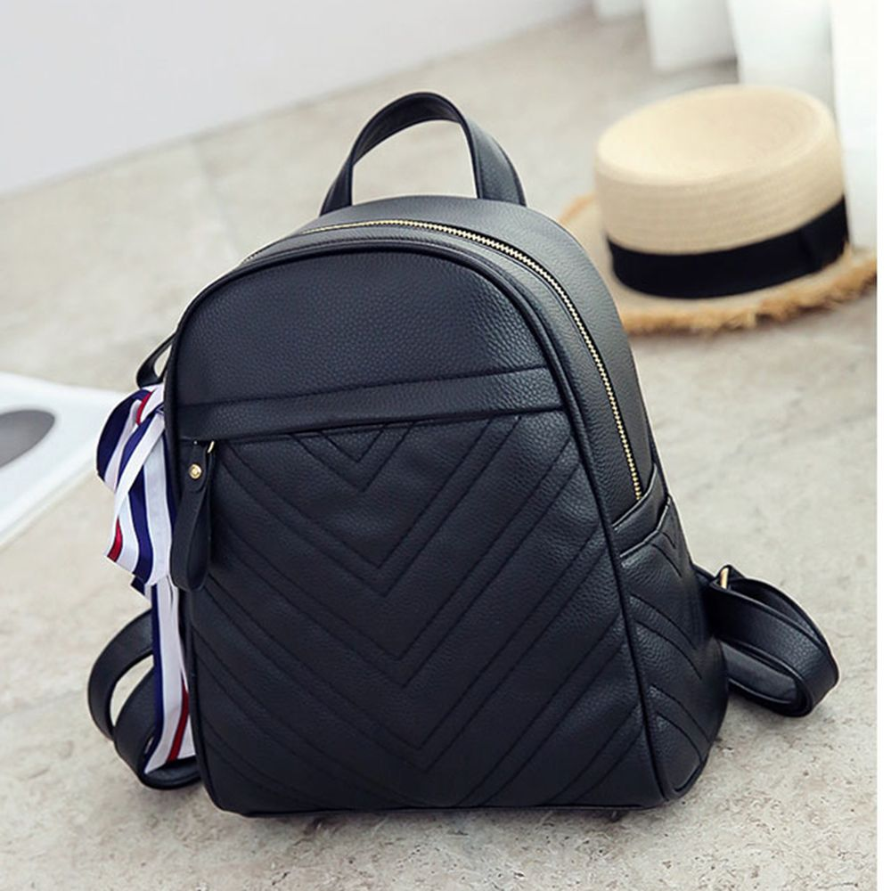 Lychee Leather Shoulder Bag Wild Scarf Ling Grid Backpack