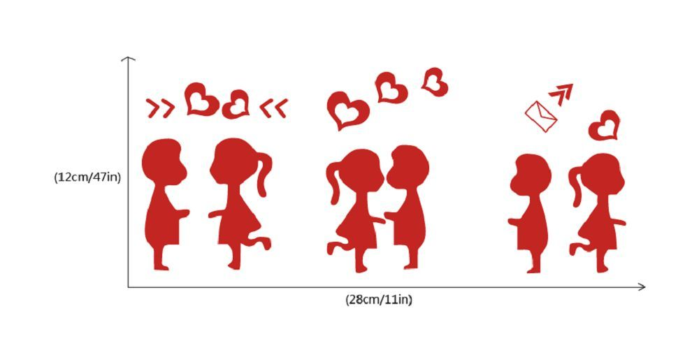 DSU  3Pcs Creative Love Trilogy Switch Sticker Cartoon Silhouette Vinyl Wall Sticker