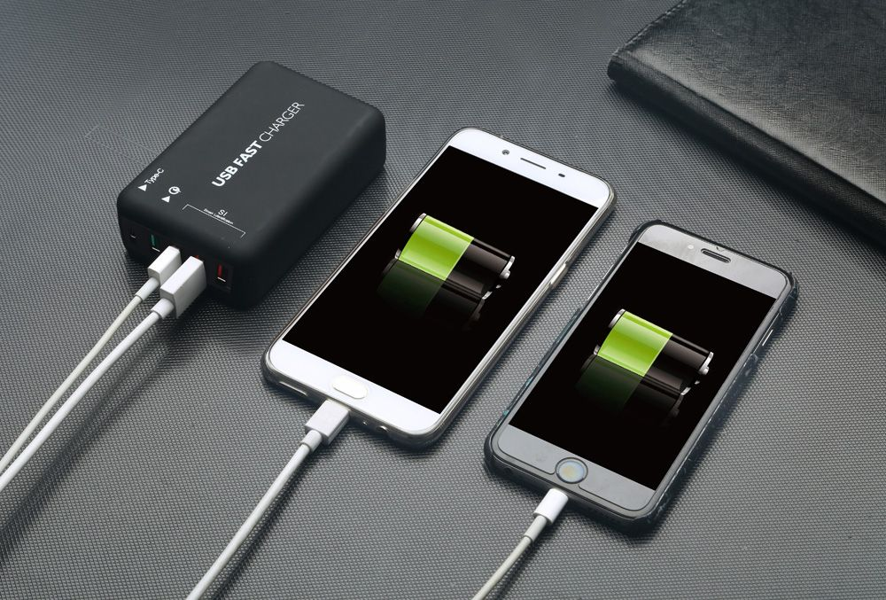 T2T USB Multi-port Smart Charger 4 Smart Charging Station QC3.0 Chip Charging Type-C Interface